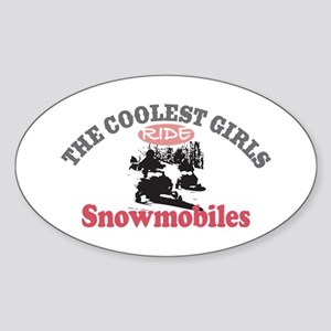 Coolest Girls Snowmobile Oval Sticker